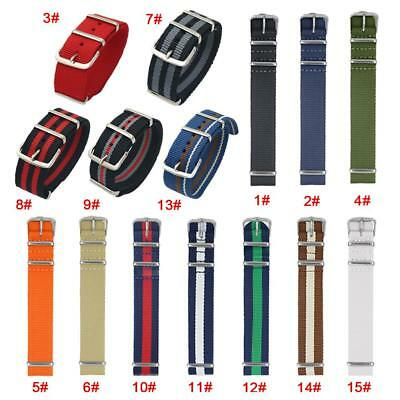 18/20/22mm Ballistic Military Nylon Nato Watch Band Sports Fabric Wrist Strap CC