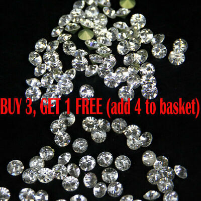 2/2.5/3/4mm Clear Czech Glass Crystal Rhinestones Pointed Back Craft x1440pcs A