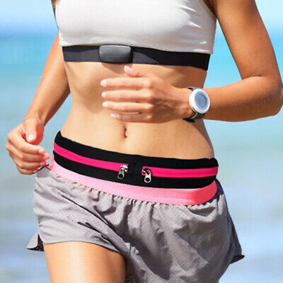 DUAL POCKET RUNNING RUNNER WAIST BELT BAG PACK POUCH BUM SPORT JOGGING GYM m9b