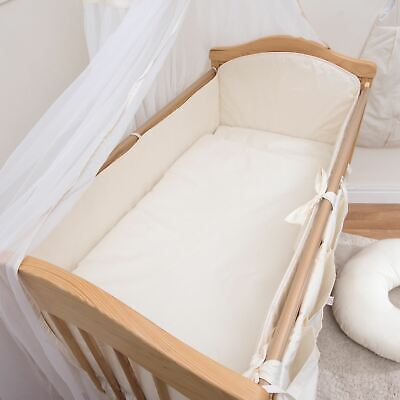 8 pc Baby Bedding Set with 4-sided Bumper and Canopy fits 120x60 cm Cot - Cream