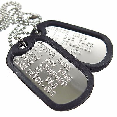 Personalized Custom Genuine US Military Dog Tag Set. Stainless Steel. Shiny.