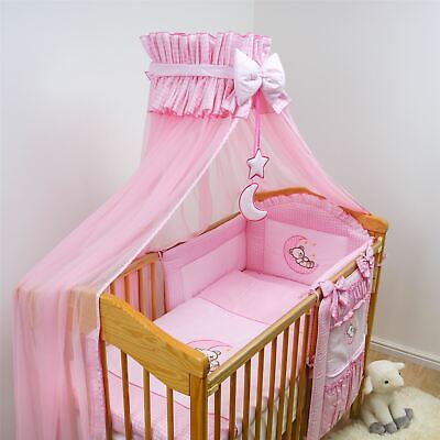 LUXURY BABY CANOPY 480cm WIDTH + HOLDER FITS COT BED - Cover 4 sides PINK MOON