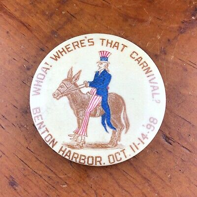 1898 Patriotic Uncle Sam Celluloid Pin Benton Harbor Michigan Carnival Donkey MI