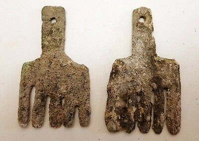 Pair of Museum Quality Ancient Bronze Age Bronze Horse Forehead Decorations