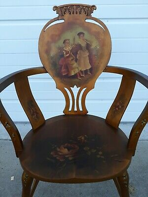Vintage French Hand Painted Parlor Chair Victorian