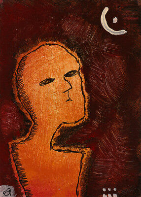 awakened by the moon e9Art ACEO Outsider Folk Art Brut Painting Intuitive Naive