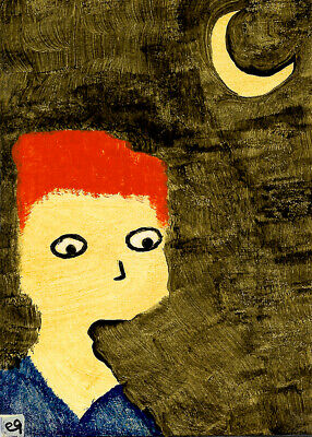 this solitary life of longing e9Art ACEO Outsider Folk Art Brut Painting Naive