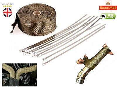 10M Titanium Heat Wrap With 10 Cable Ties 30 Cm For Exhaust Manifold Downpipe