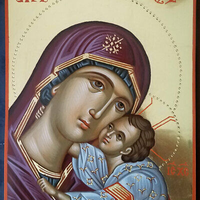 Hand painted  Byzantine art icon of Theotokos- Panagia-Virgin Mary