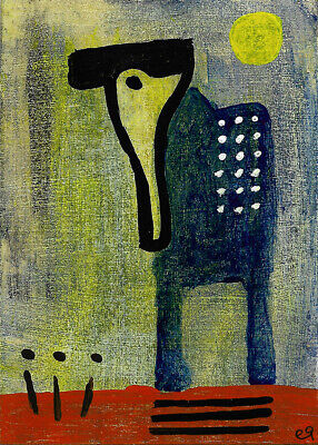 why the long face? e9Art ACEO Outsider Folk Art Brut Painting Original Naive