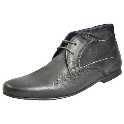 Base London Orbit Men's Smart Casual Leather Dress Chukka Boots Black