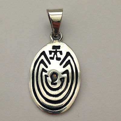 Sterling Silver Handmade Hopi Style Engraved Man in the Maze Oval Shape Pendant