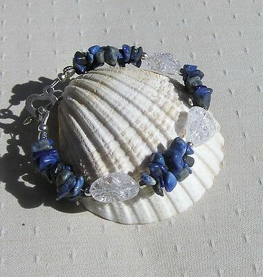 "Lapis Lazuli & Crackled Clear Quartz Crystal Gemstone Bracelet ""Bluebell Dew"""