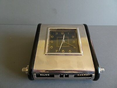 Mofem. Hungarian art deco bakelte & chrome desk clock and calendar. Circa 1930