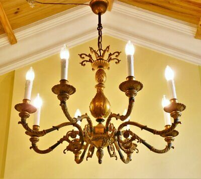 Large antique vintage French empire brass rococo 8 lamp ceiling light chandelier