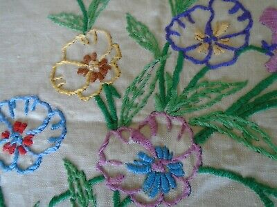Vintage Hand Embroidered Linen  Panel  -