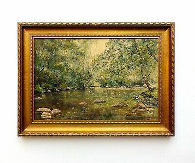 River Painting Vintage English Antique Oil Painting Signed Framed Yorkshire