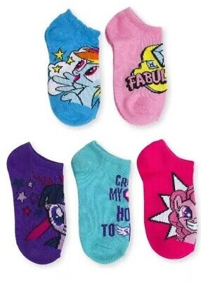 My Little Pony Little Girls 5 Pair  No Show  Rainbow Socks  Size Small 4-7.5