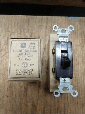 NOS Vintage BRYANT Bakelite Light Switch Single-Pole 4801 Brown 15A