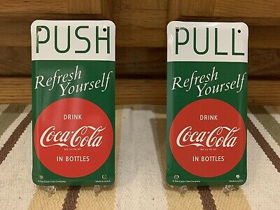 Coca Cola Push Pull Metal Door Fountain Service Button Coke Soda Vintage Style