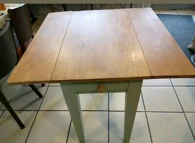 ANTIQUE SOLID PINE FARMHOUSE KITCHEN STYLE Drop Leaf TABLE - WITH DRAWERS