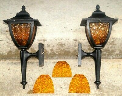 1930s - 50s Cast Metal Wall Sconce Pair Porch Light Electric Lamps W/Amber Glass