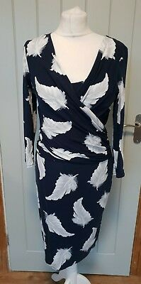 Phase Eight navy blue feather print dress size 12 mock wrap stretch wiggle (a51)