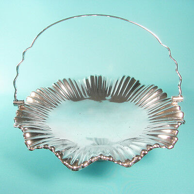 Antique Victorian MAPPIN & WEBB Pleated Silver Plate Bride's Basket - Superb!