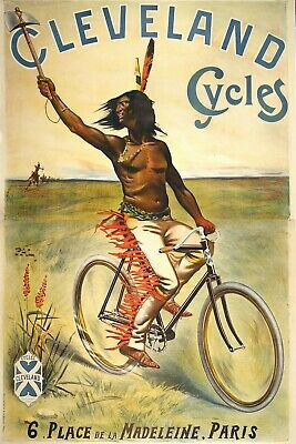 Original Vintage Bicycle Poster Cleveland Cycles by Pal 1898 Oversize Indian