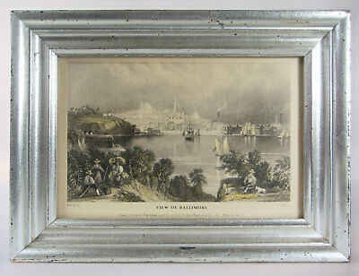 Antique Print - View of Baltimore - 1863 steel engraving - Silver Leaf Frame