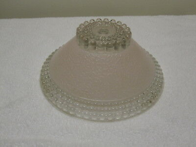 """Vintage Antique Art Deco Ceiling Light Hobnail Frosted Pink Glass Shade 10"""" NICE"""