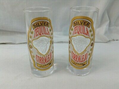 Gold Red White /& Green Set of 4 Silver TEQUILA CORRALEJO Embossed Clear GLASSES