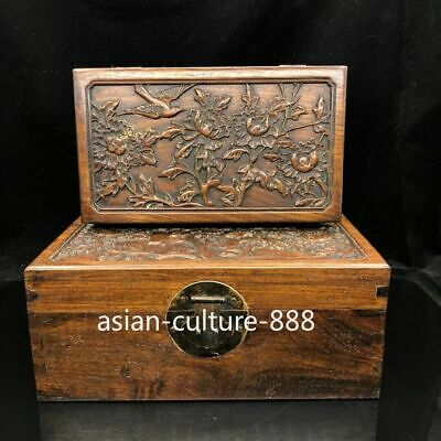 "12"" Chinese old antique huang huali wood handcarved flowers and bird Box A set"