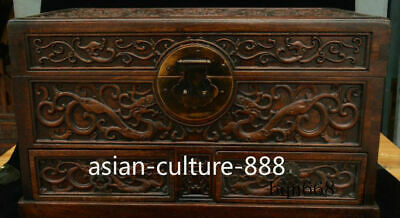 """16"""" China old Huang Huali Wood carving Dragon Beast Storage Jewelry Box Statue"""