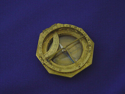 ANTIQUE SIGNED 18thC GERMAN BRASS EQUINOCTIAL SUNDIAL COMPASS, ANDREAS VOGLER