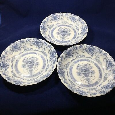 Set of 3 Arcopal France Rimmed Soup Bowls Honorine Blue Floral Opaque Glass