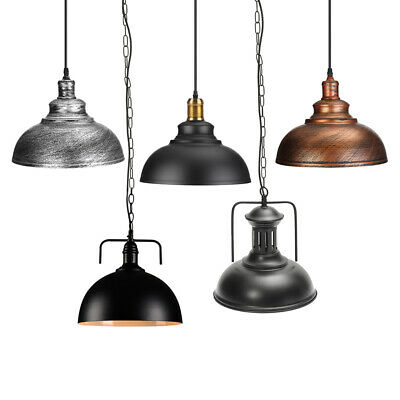 Vintage Industrial Hanging Loft Fixture Metal Shade Pendant Light Ceiling Lamp