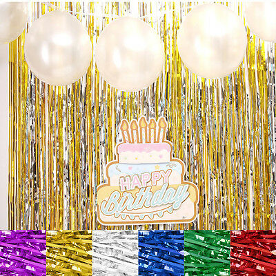 Shimmer Foil Glitter Tinsel Metallic Backdrop Curtain Window Wedding Party Décor