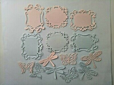 Embellishment for card making card toppers, butterfly's & dragonfly's pink& blue