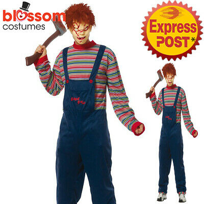 K20 Mens Seed of Chucky Doll Horror Scary Halloween Costume Fancy Dress Outfits