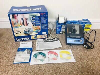 Brother QL-500 P-touch Label Printer Boxes + Labels & Instructions / Software