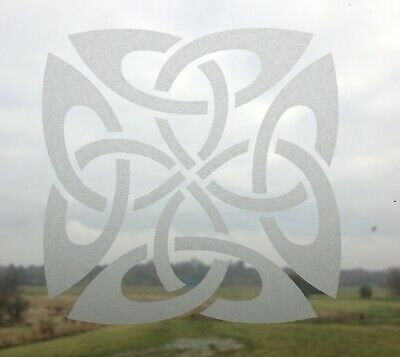 Quaternary Celtic Knot  Design Stained Glass Etch Effect Window Door Sticker