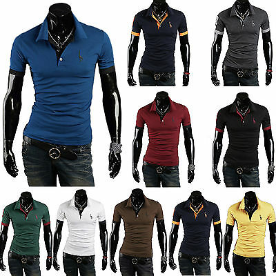 Men Gym Slim Fit Short Sleeve Polo Tee Shirts Tops Stylish Summer Casual T-Shirt