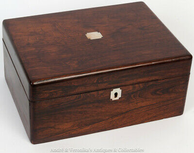 Antique Rosewood Stationery / Trinket / Jewellery Box MOP inlay Victorian Wooden