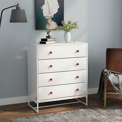 Large Chest of Drawers White 3 Drawers Bedroom Hallway ANTI-TIPPING