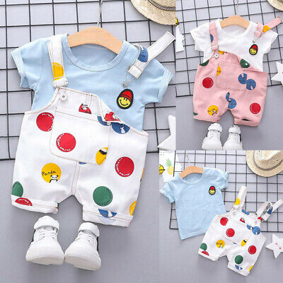 Toddler Kids Baby Boy Girl Outfit Clothes Smile Face T-shirt+Straps Shorts Set K