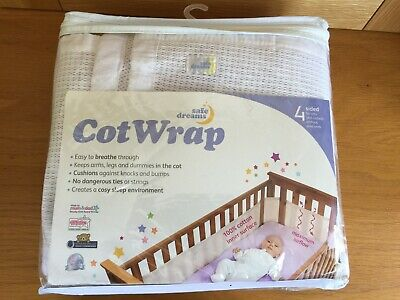 Safe Dreams 4 Sided Breathable Cot Wrap Bumper for Cots Cot Beds Cribs White VGC
