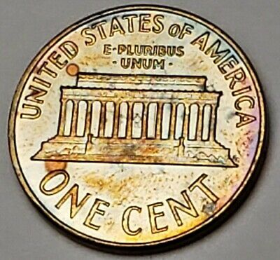1964 Lincoln Memorial Proof Bu Unc Cent Penny Lightly Color Toned Coin