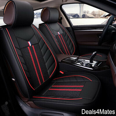 Audi A3 A4 Black Fabric & Leatherette Luxury Breathable Front Car Seat Covers