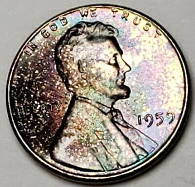 1959 Lincoln Memorial Bu Unc Cent Penny Vibrant Rainbow Color Toned Coin